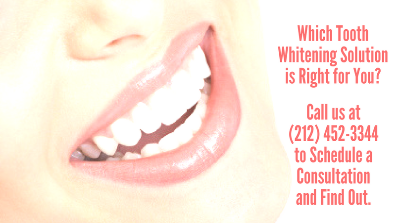 Which teeth whitening option is right for you? Call our experienced NYC cosmetic dentists to learn about in-office, take-home, and smile makeover solutions to brighten even the deepest discoloration